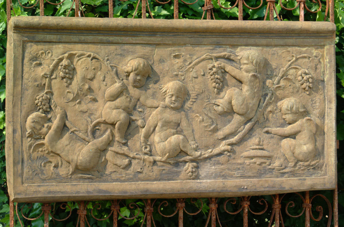 Unique Stone Cherub/Grape Plaque