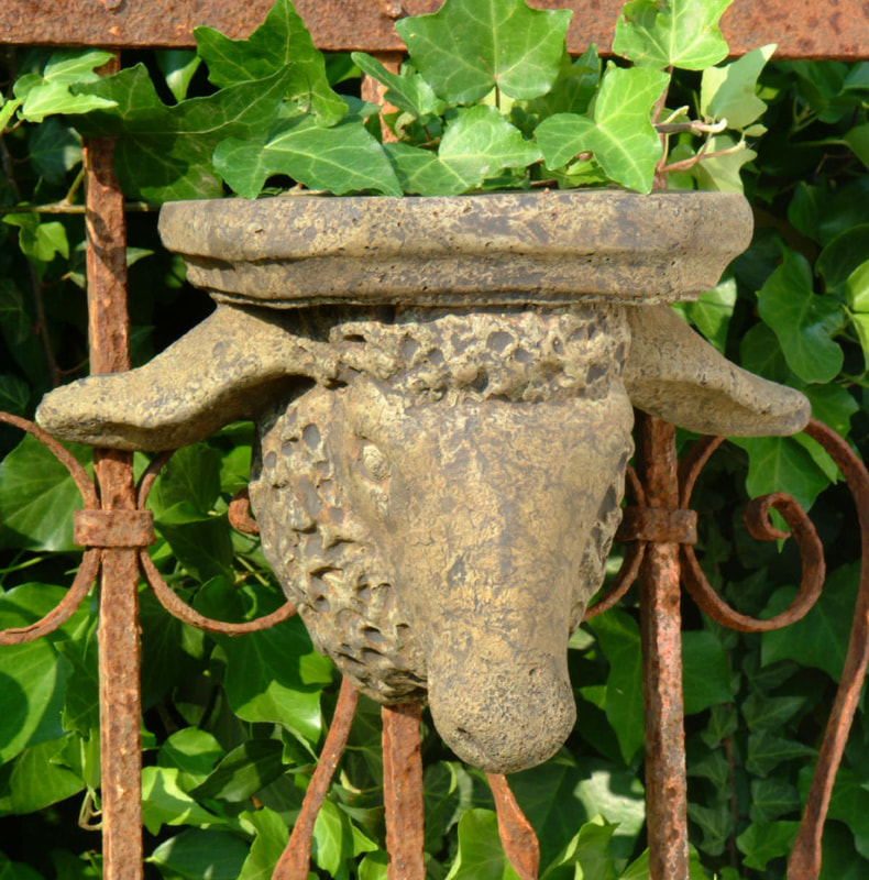Unique Stone Ram's Head Shelf
